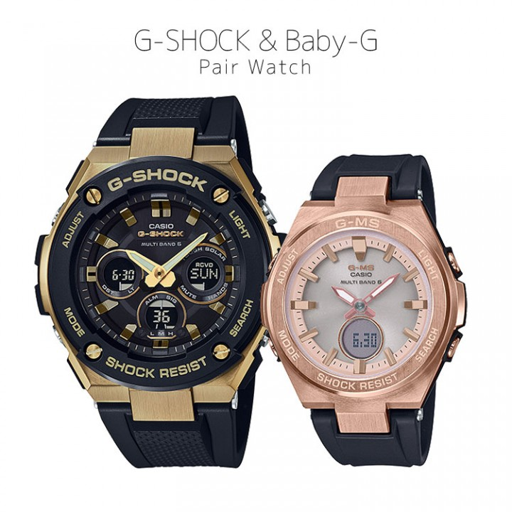 CASIO G-SHOCK/BABY-G G-STEEL/G-MS PAIR GST-W300G-1A9JF/MSG-W200G-1A1JF